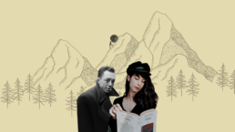 Albert Camus and a girl is reading a book